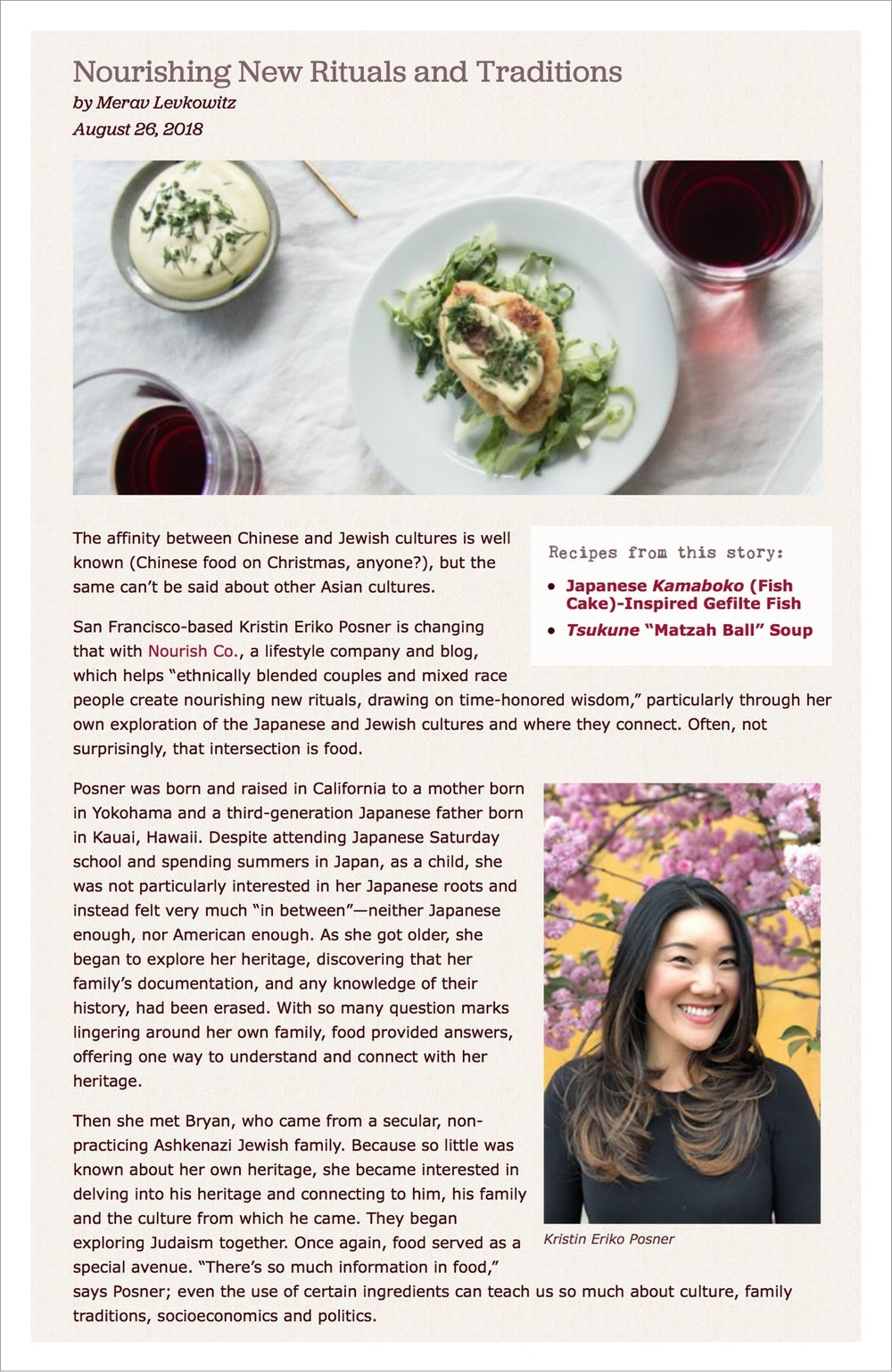 """Dishes like the Kamaboko Gefilte Fish and Black Sesame Hamantashen... are all examples of Posner's own 'cultural innovation,' which she ultimately hopes will inspire others... Sounds like a recipe for success to us."