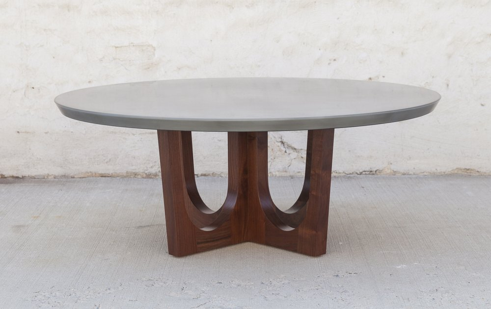 Grand Pedestal Coffee Table With Zinc Top