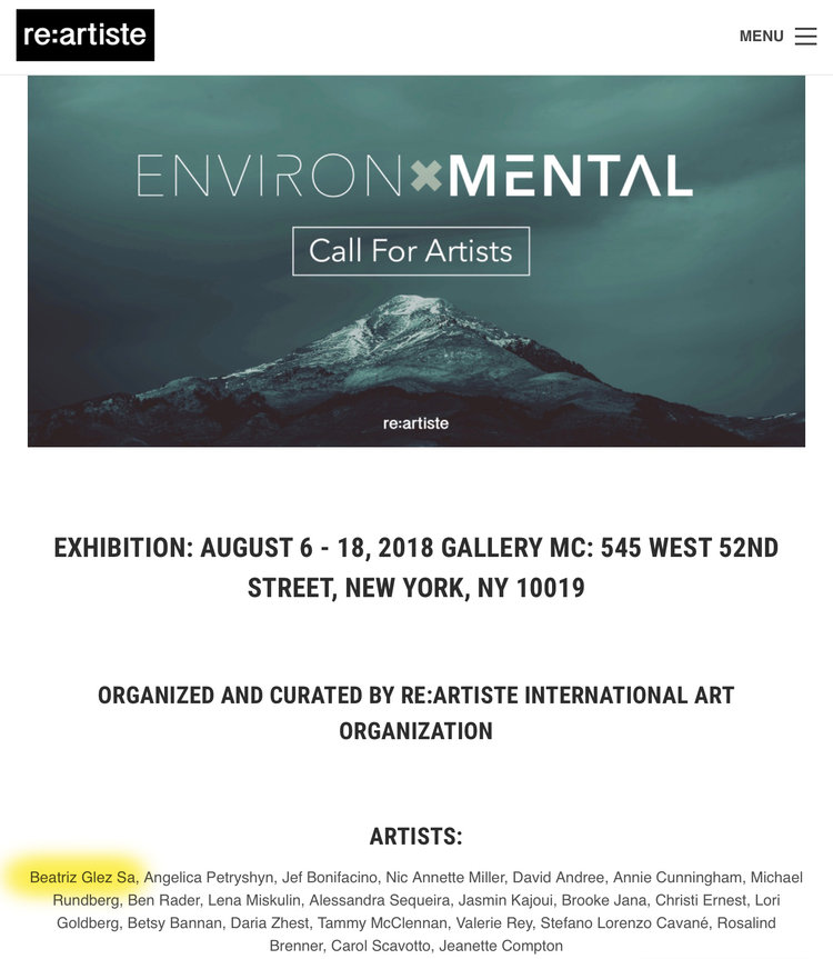 Work selected for exhibition in New York about environmental