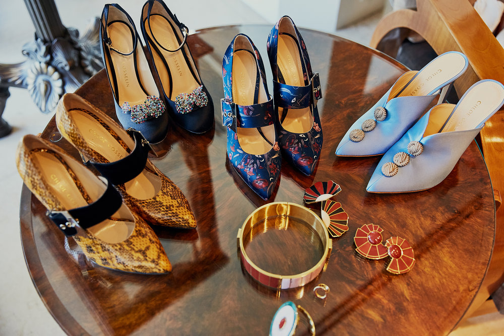 Spoiled for choice: Hannah and Chloe chose from a selection of shoes from the Chloe Gosselin fall/winter collection; their jewelry was by CFDA member Monica Sordo.
