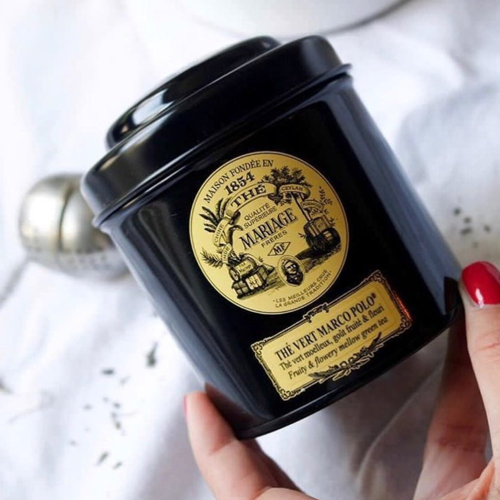 Mariage Frères makes the world's finest tea, and Chloe always buys a few tins whenever she visits Paris. This green tea is balanced with a secret blend of fruit and blue cornflowers.   Mariage Frères Marco Polo Vert tea, $15.40,    Theculturedcup.com