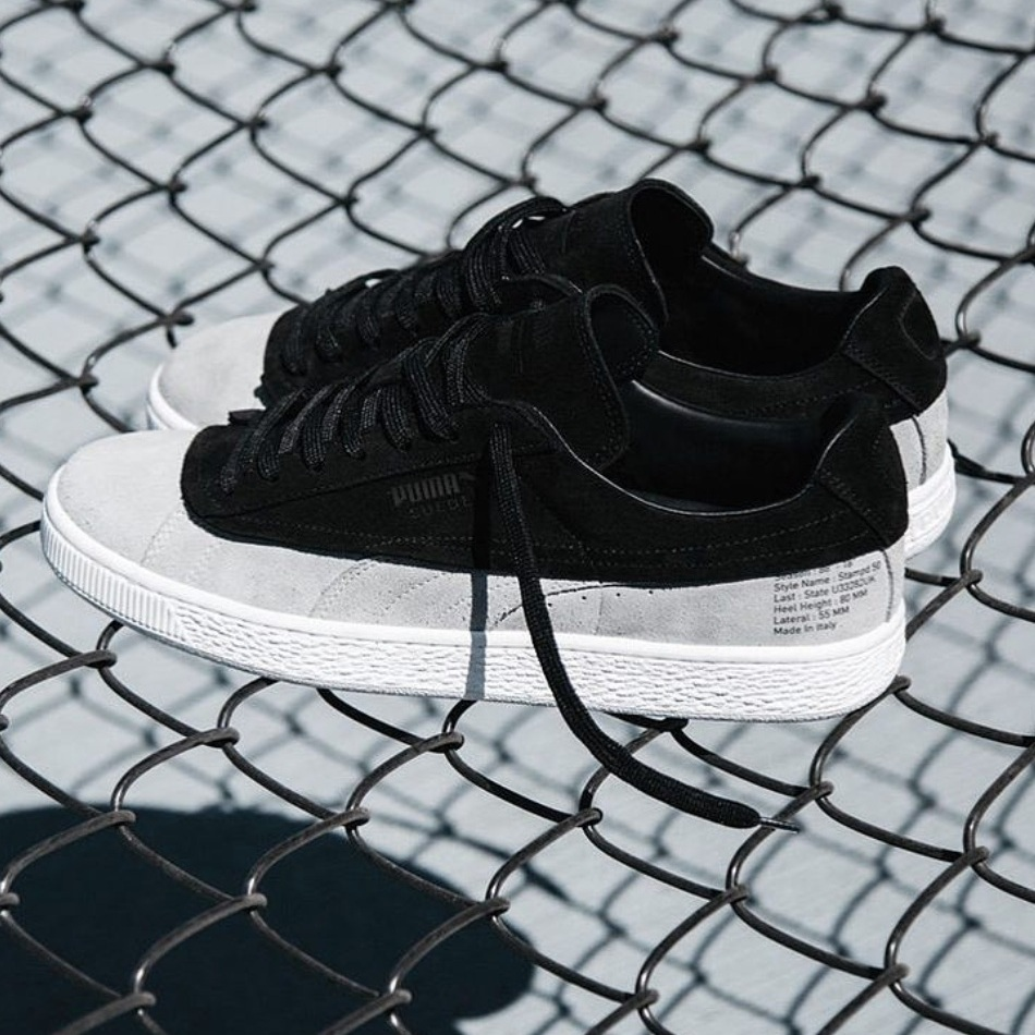These coveted 88-18 sneakers are a collaboration between streetwear label Stampd and Puma. The upper is smooth suede, while the lower mirrors an unfinished design with rough edges and a textured sole.   88-18, $100,    Stampd