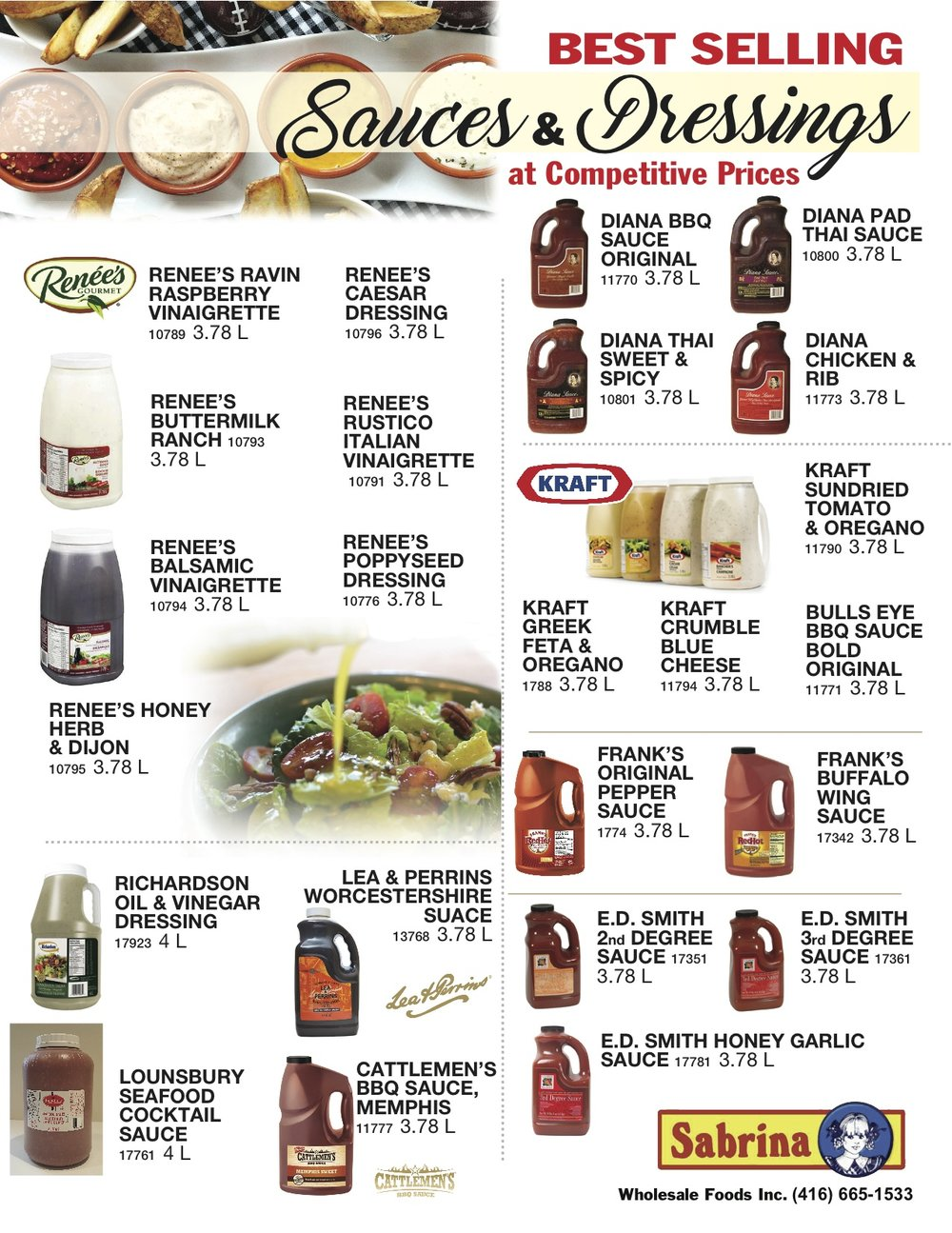 sauces and dressing 1 sabrina wholesale foods toronto supplier