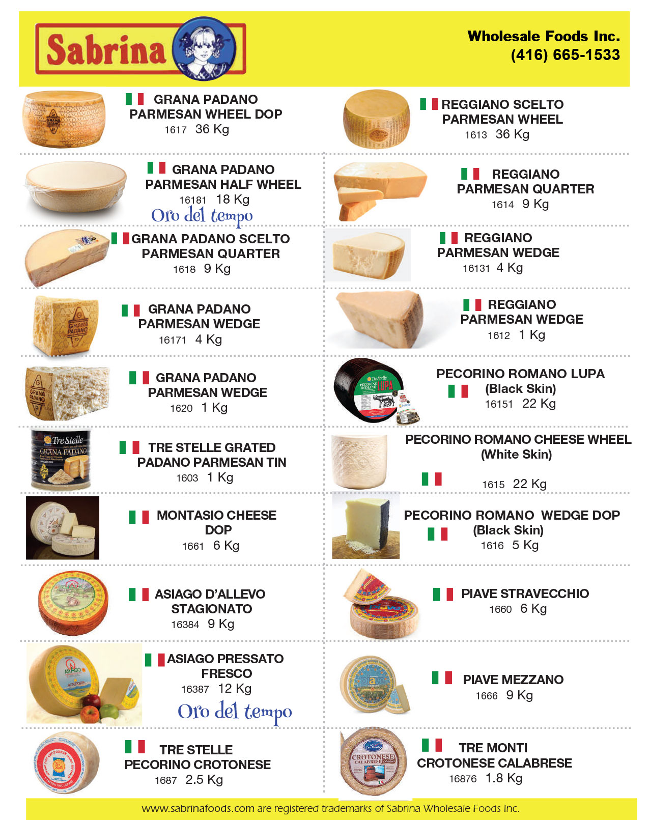 Imported Cheese — Sabrina Wholesale Foods - Toronto Supplier