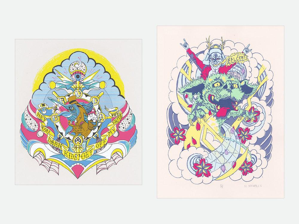 Left: Bruda; 8-color screen print // Right: Falcor; 6-color screen print