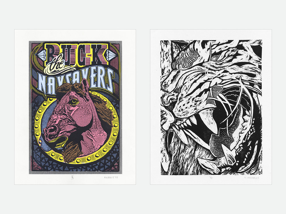 Left: Buck the Naysayers // Right: Tiger's Blood; single-block relief print