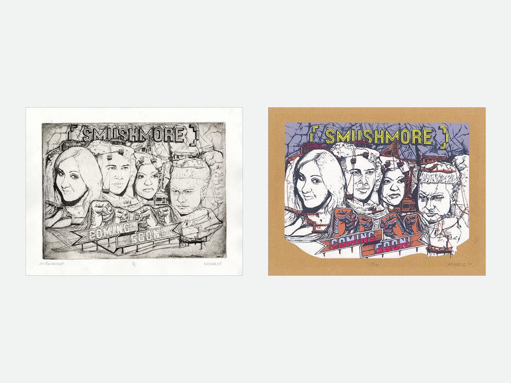 Left: Mt. Smushmore; intaglio print // Right: Mt. Smushmore; 6-color screen print