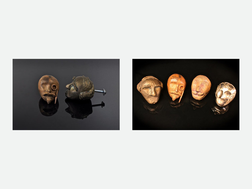 Left: Faces Collection No. 1; caste bronze, dresser knobs // Right: Faces Collection No. 2; caste bronze and silver, dresser knobs