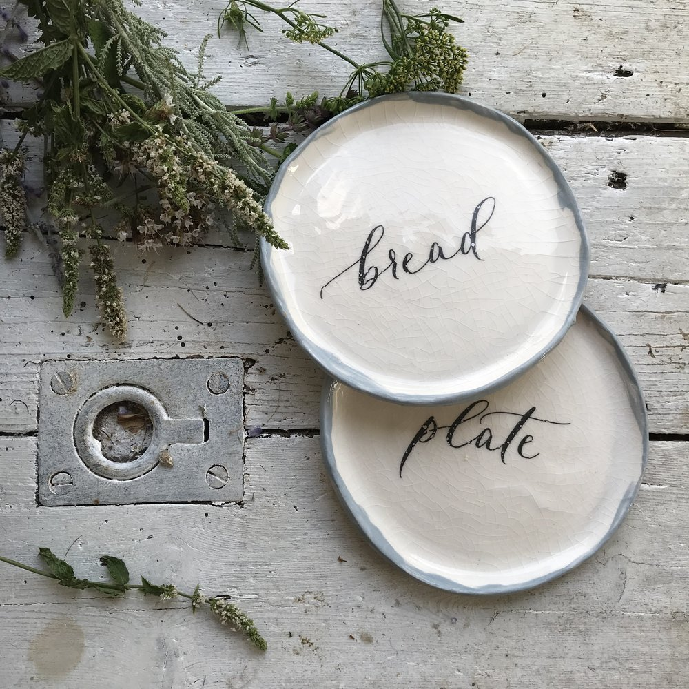 Ready-to-buy   Currently offering a choice of 4 words on these dinner party perfect side plates: olives, plate, star, & bread. A great focal point for a pre-dinner snack or table setting. Note: We can also personalise these for a special gift, get in touch to find out more.