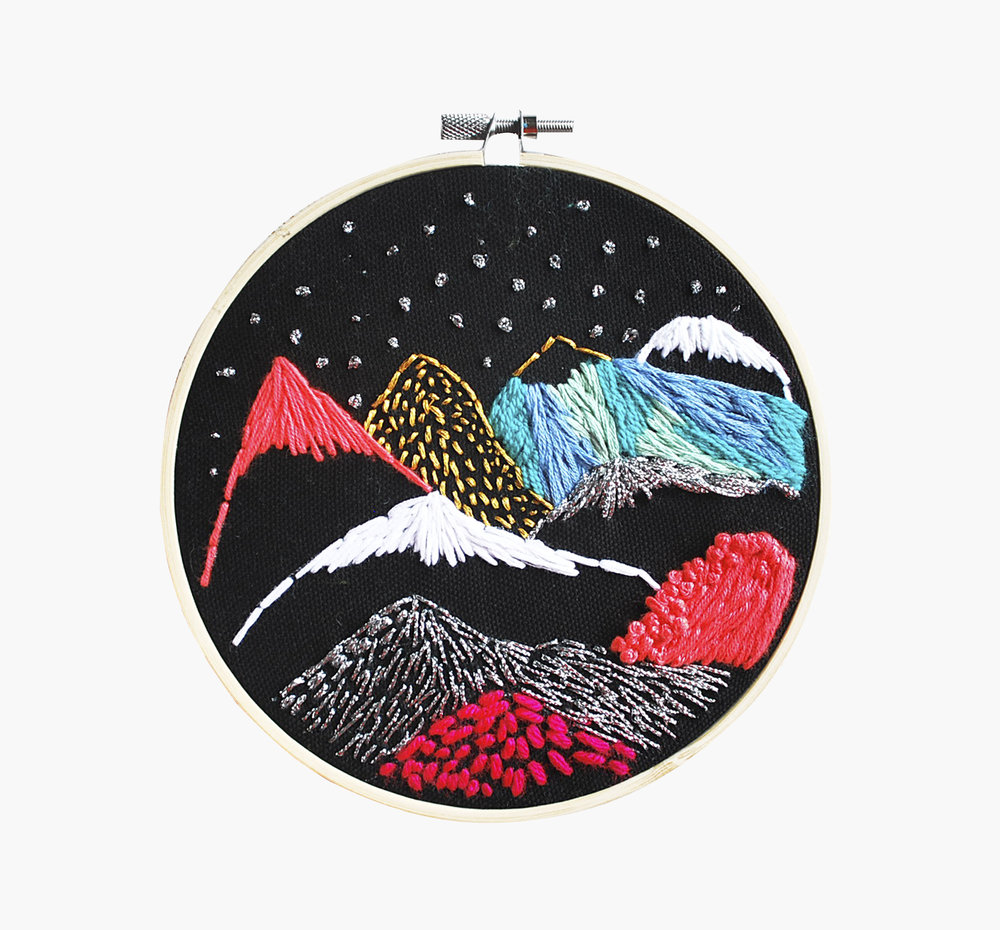 Cosmic Andes     Embroidery on canvas, 5x5 inches