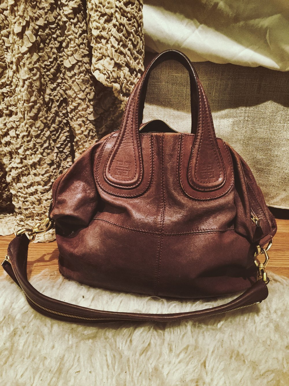 GIVENCHY Lambskin Medium Nightingale in Burgundy purchased from Fashionphile in 2014.