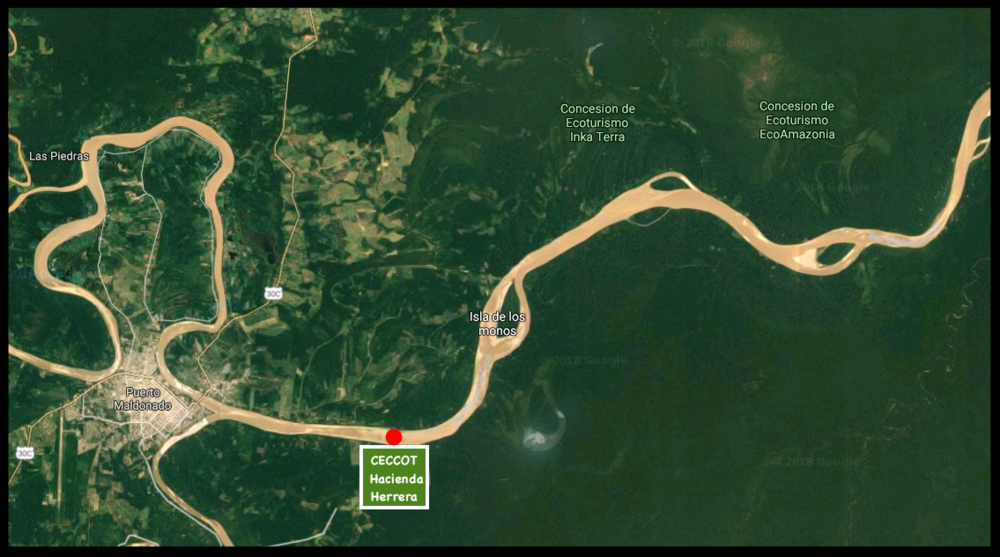 Our general location in reference to Puerto Maldonado and other local reserves.