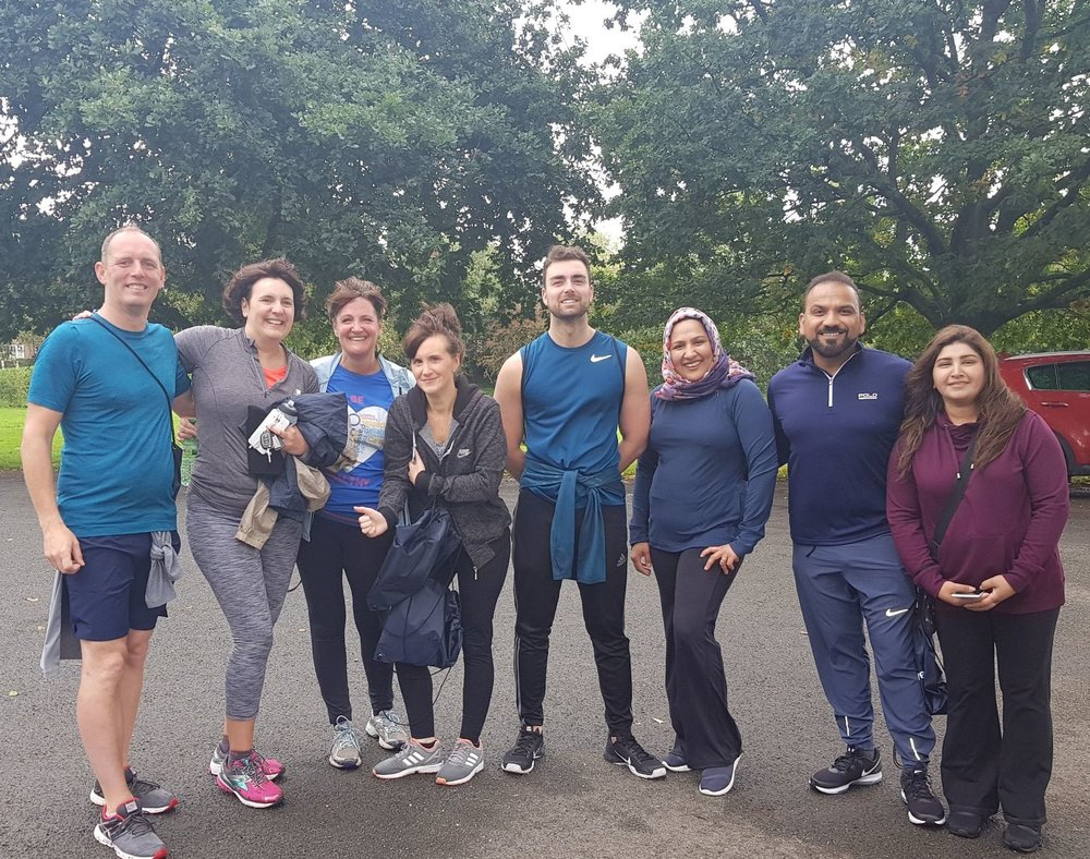 Some of our Health Development Coordinators and local GPs, Dr Kashif, Dr Richards, Dr Syed take part in Boggart Hole Clough's Great Run Local