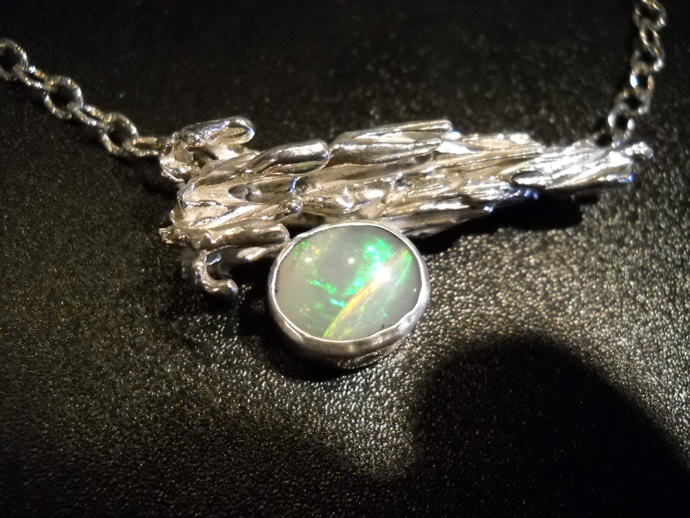 "Water Cast Sterling with an opal. I call it ""Sky"" $320"