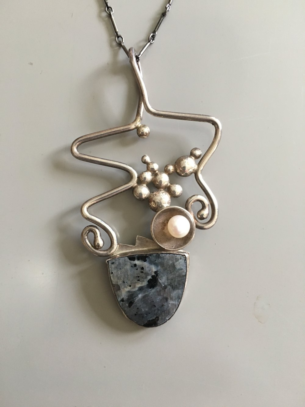 "The ""Bubble"" Series all Sterling with a peach pearl and Gray Tiger Stone. $240"