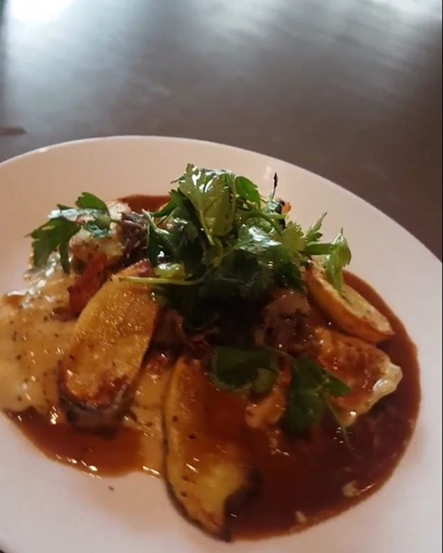 Today's special: Cheese creamy, pesto ravioli, braised lamb, buttered potatoes topped with lamb jus.  #kaybistro #hhcistheplacetobe #haidagwaii #special