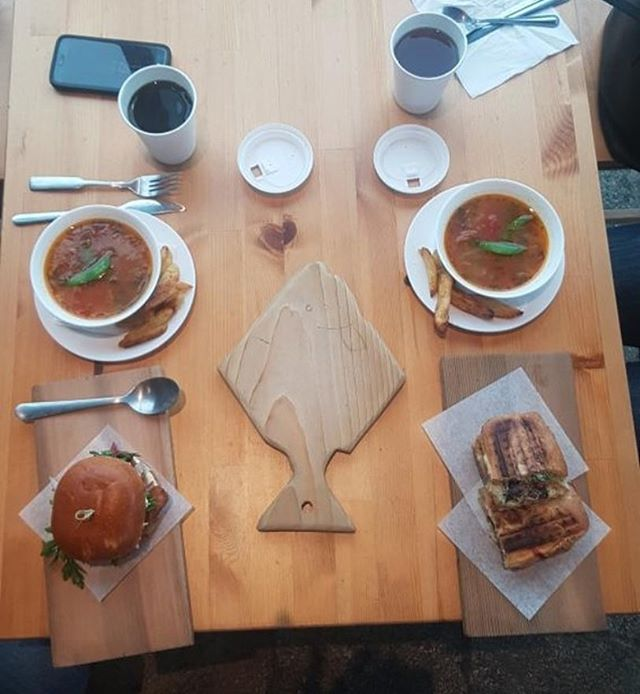 Pick up a soup and sandwich for lunch today! We open at 11am.  #kaybistro #haidagwaii #eatlocal