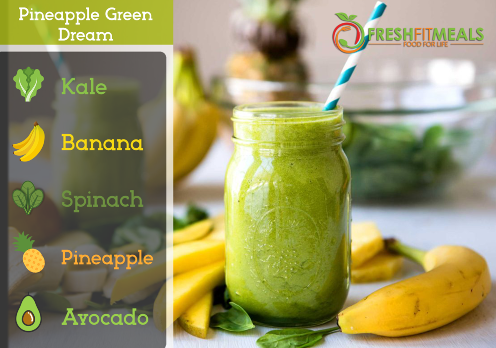 Avocado, spinach, kale, pineapple, and banana.
