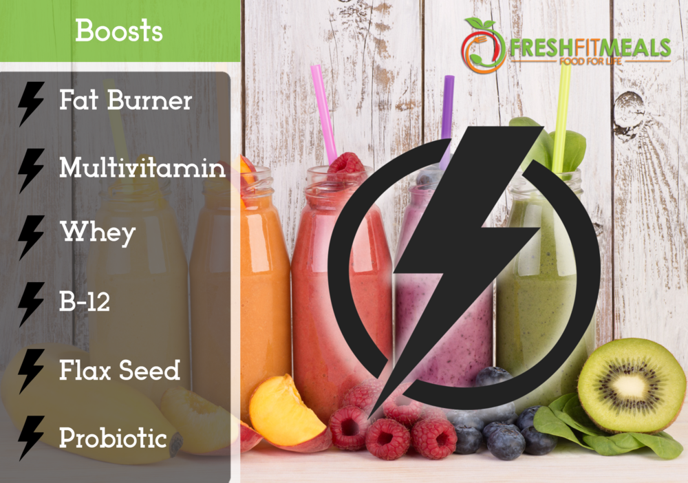 Choose from energizer, fat burner, whey protein, soy protein, multivitamin, B-12, probiotic, or flax seed.