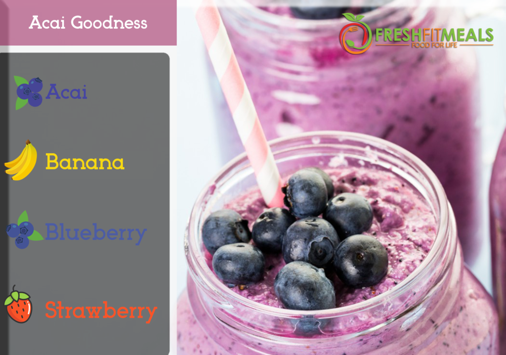 Strawberry, banana,   blueberry, and açaí.
