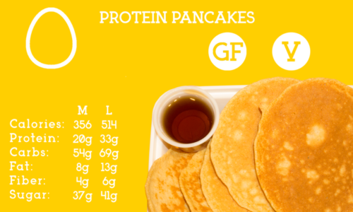 Low-fat, protein packed, gluten free pancakes served with a side of agave syrup.