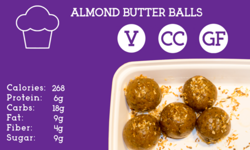 Whey protein packed almond butter balls with coconut flakes, honey, and chocolate chips.