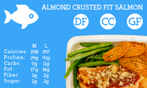 Sweet and spicy glazed salmon crusted in almonds, served with steamed green beans, and honey roasted carrots.