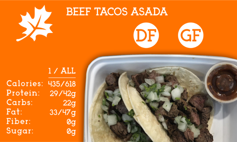 Beef asada diced to perfection topped with diced onions and cilantro. This taco comes together with gluten free corn tortillas and a side of homemade salsa.