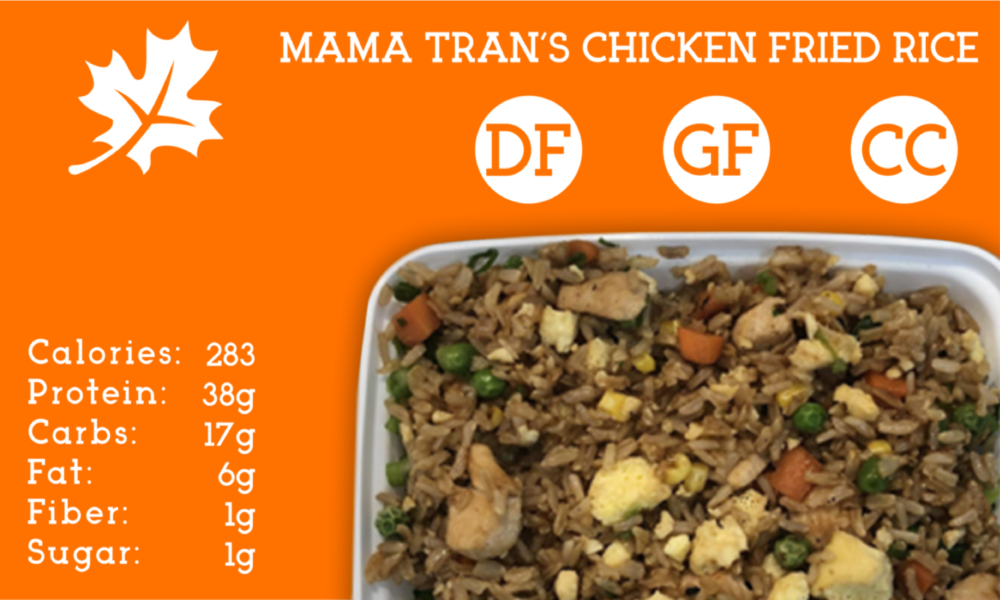 A medley of chicken, brown rice, egg, carrots, corn, and snow peas tossed in amino soy.  Just the way Mama Tran likes it.