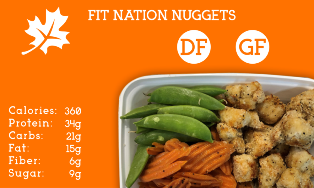 A healthy take on a classic! Our mouthwatering nuggets are made with all-natural chicken, almond flour, and garlic pepper seasoning. Served with glazed carrots and snap peas.  Don't forget the Honey Mustard!
