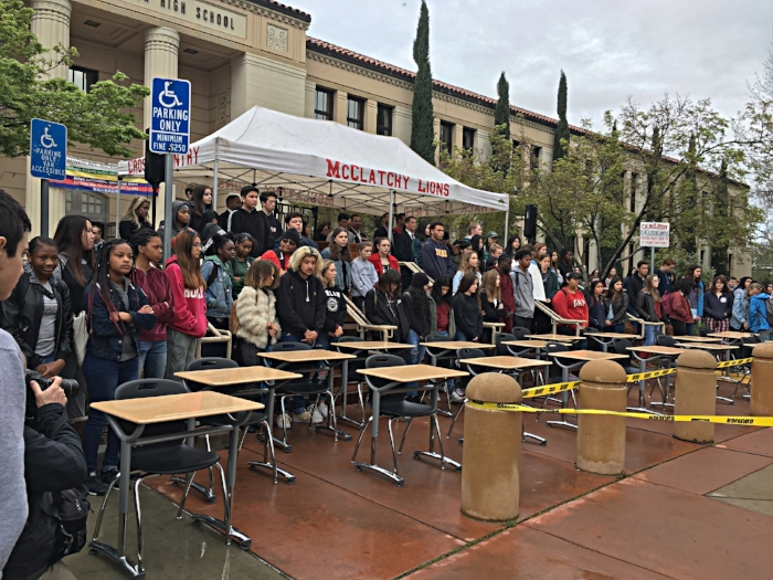 McClatchy students walk out for 17 min campign