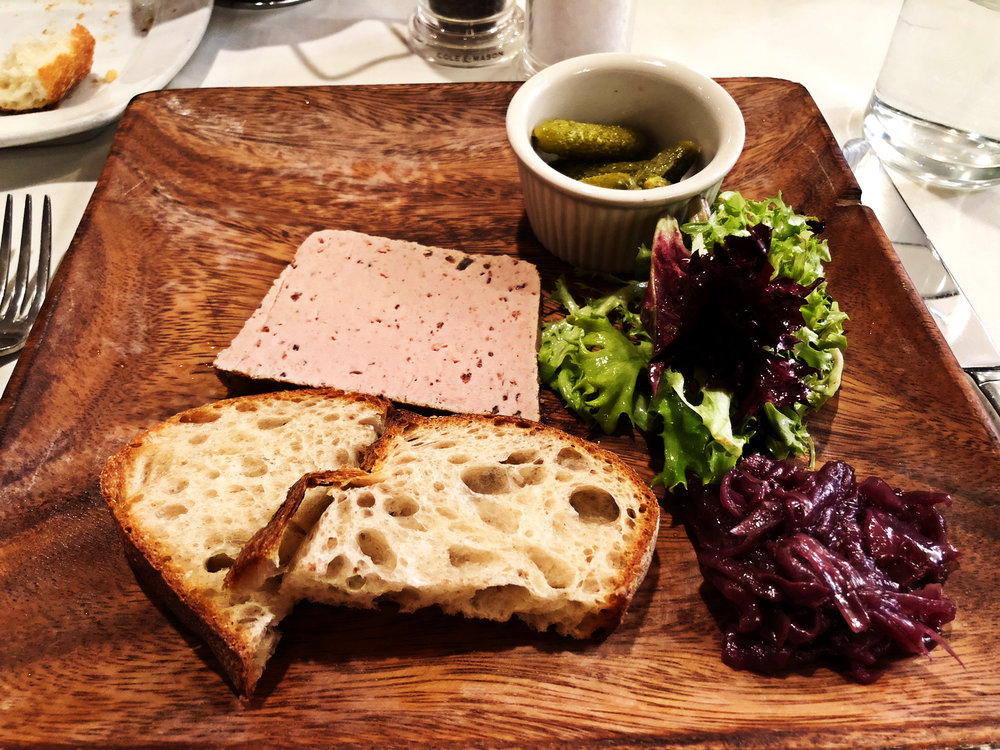 Le Paté  Truffle chicken liver mousse, pickles, onion confit & toasted country bread
