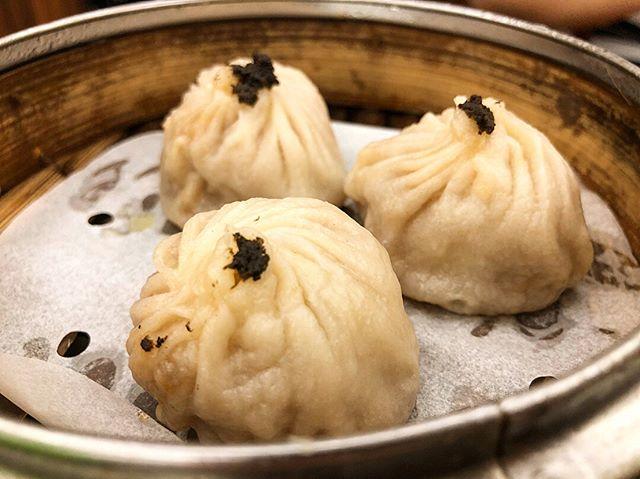 Black truffle xiao long bao + black truffle sheng jian bao