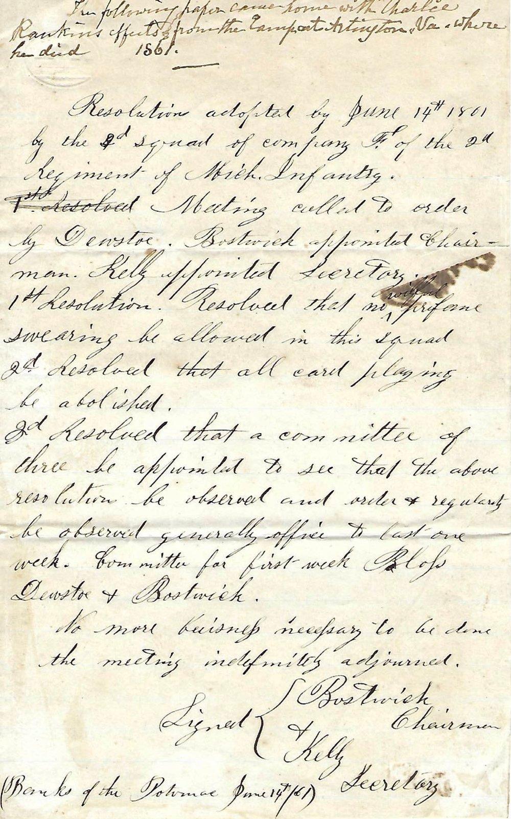 Charles Rankin Letter 1861