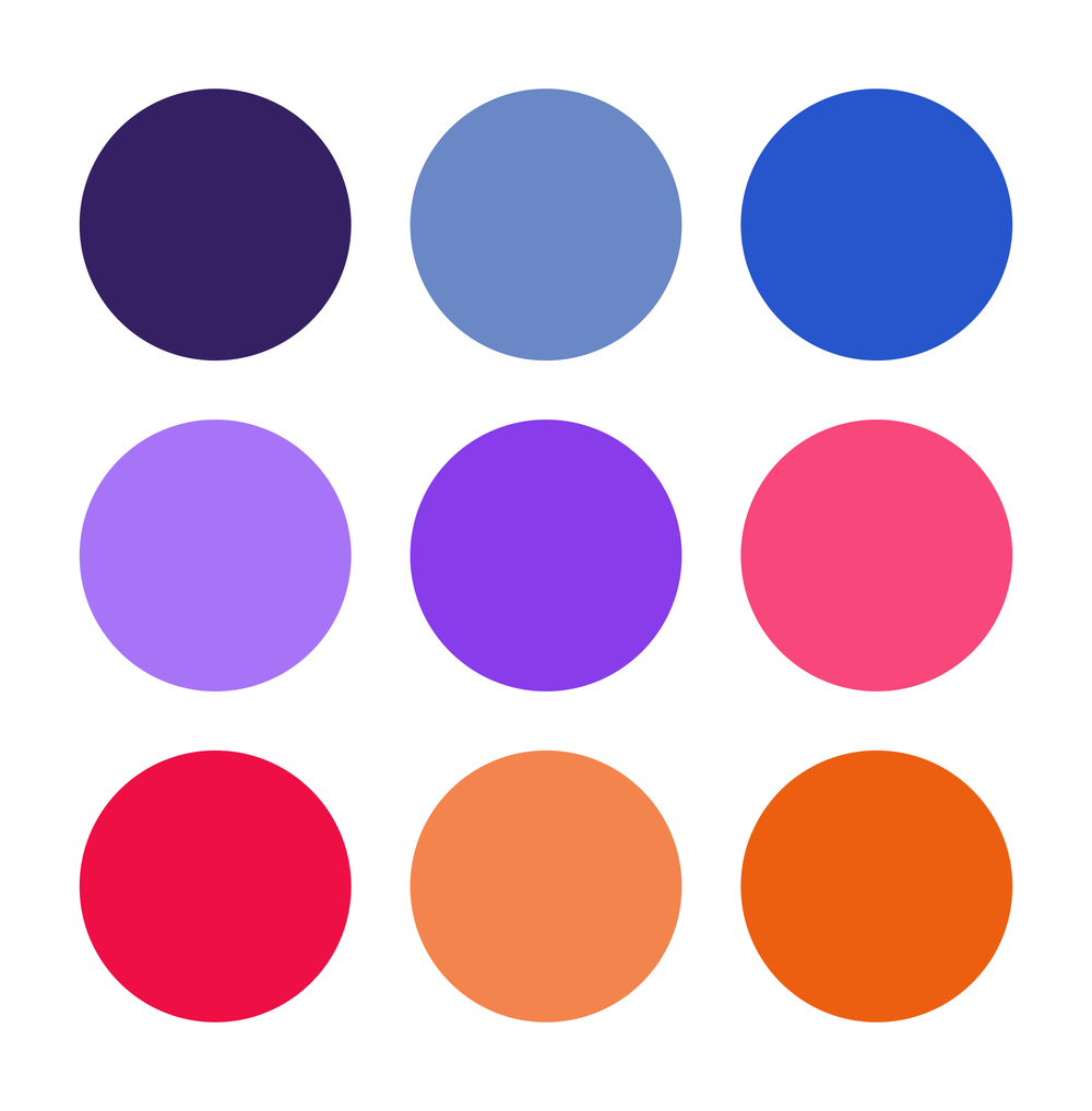 The color palette - Most competitors in True Colors' category use a traditional rainbow palette. To help True Colors stand out we explored a less expected palette that still integrates bright, muted, warm, and cool colors.