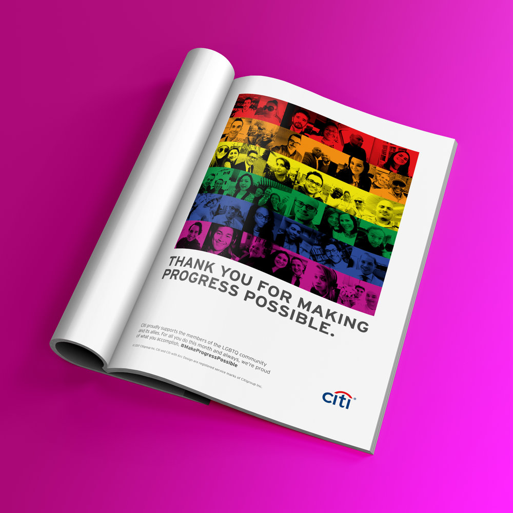 Magazine Ad - A print ad in the official publication celebrates Citi employees that are out and proud.