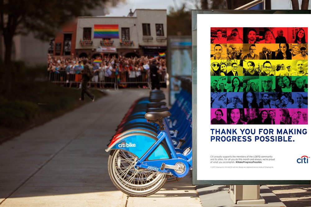 Out of Home - Pride ads appeared at CitiBike stations, retail locations, bus shelters, and subway stations.