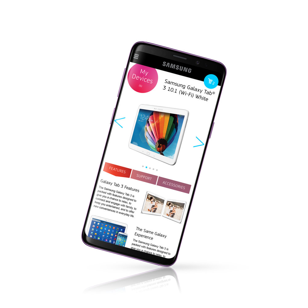 Product Detail Page - Users can browse the Samsung devices that they own and learn about features, compatible accessories, and get support.