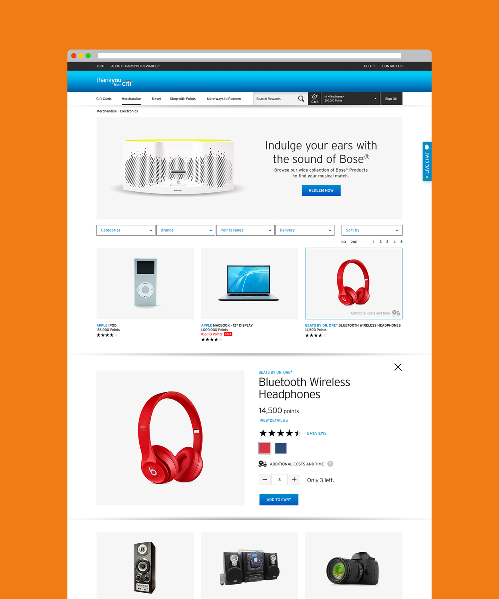 Redeeming points for merchandise - Landing pages for Merchandise feature options for promotional banners on top for third party partnership opportunitities. Product listings were updated to feature ratings, quick views and sorting filters previously unavailable.