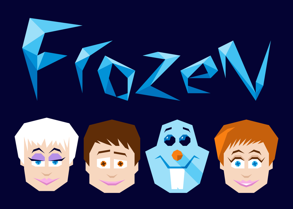 Logo and Characters - When you look at a snowflake under a microscope, it has a very fractal appearance. I worked with a grid to create a logo and characters that adhered to that look and feel. I wanted this production of Frozen to have a unique identity separate from what Disney already did.
