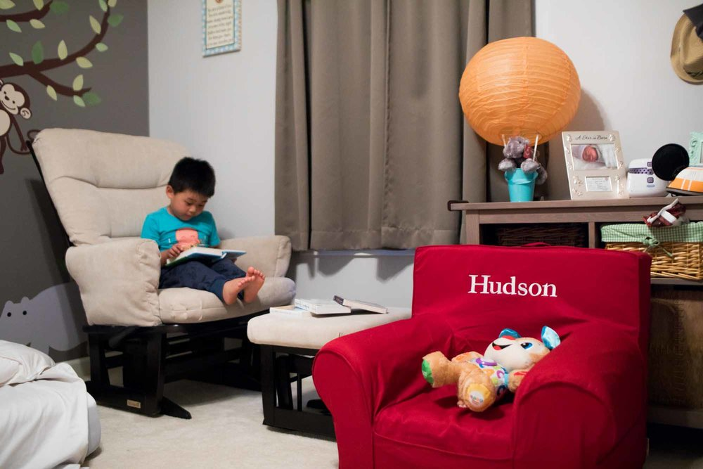 """Hudson's room is set up with toys, pictures, maps and bible verses to celebrate his coming arrival. Josiah Yoo loves to sing the alphabet alongside the singing stuffed dog in Hudson's chair. Yoo said, """"My son is on the spectrum so advocating for special needs is another one of our things."""" Yoo is working with Josiah's nanny to create a special needs ministry at Waypoint. Yoo has had parents lament to him about not being able to attend a church service since their child was born with disabilities and needs constant individual care. They want to enable a buddy system for the children with special needs to have someone with them the entire service."""