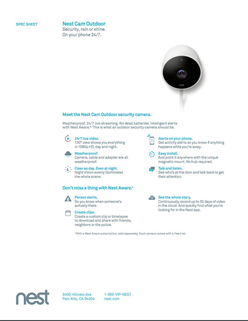 Nest Cam Outdoor Specification Sheet