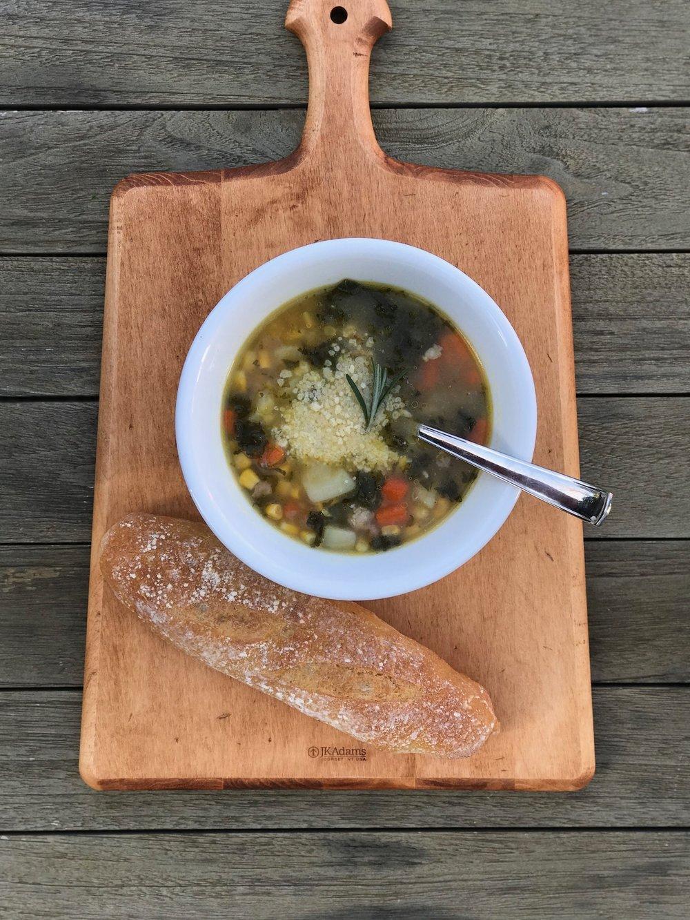 line & lee sausage & kale soup