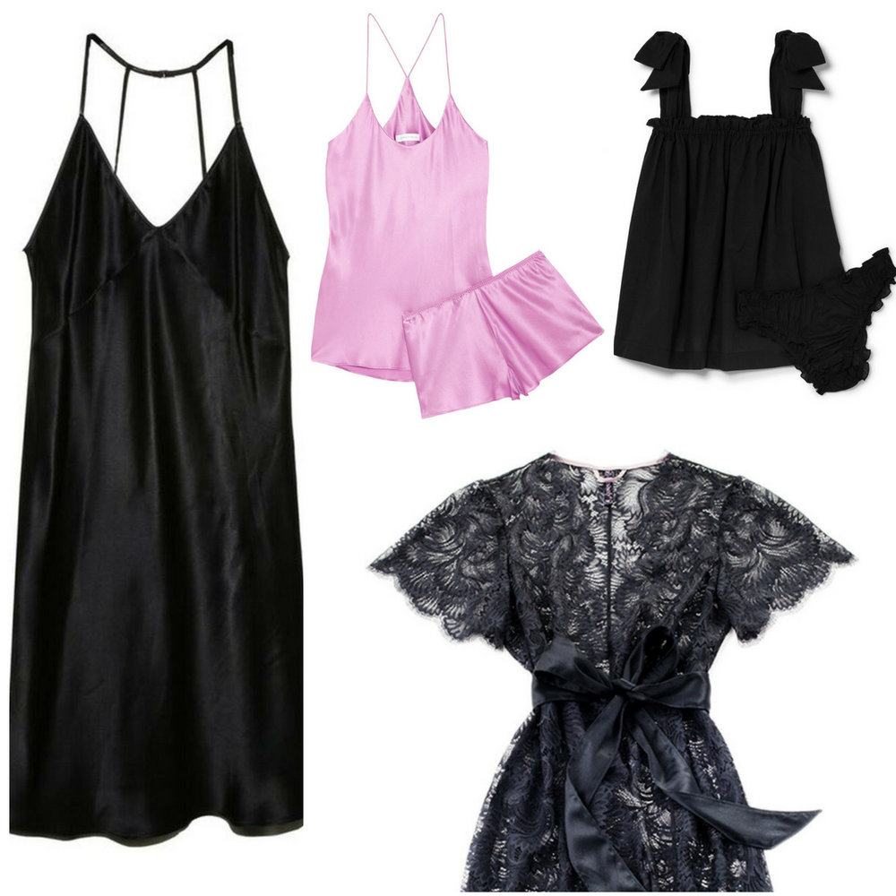 ( FLEUR DU MAL SLIP DRESS ,  OLIVIA HALLE SATIN PJS ,  LE PETIT TROU SET ,  NEVAEH BED JACKET )
