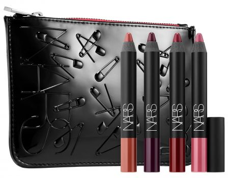NARS Manic Velvet Matte Lip Pencil Set - Us and lipstick are old friends. But, let's get real, the real GIFT in this gift-set is the pouch. It screams 70s punk rock and 90s Elizabeth Hurley-in-a-Versace dress all at once. The four mini Matte Velvet Lip Pencils in shades of berries, camel and rose are just a bonus! This tried-and-true formula is beautifully matte, but not drying, and the colors are perfect for the holidays and dark, winter nights.$45