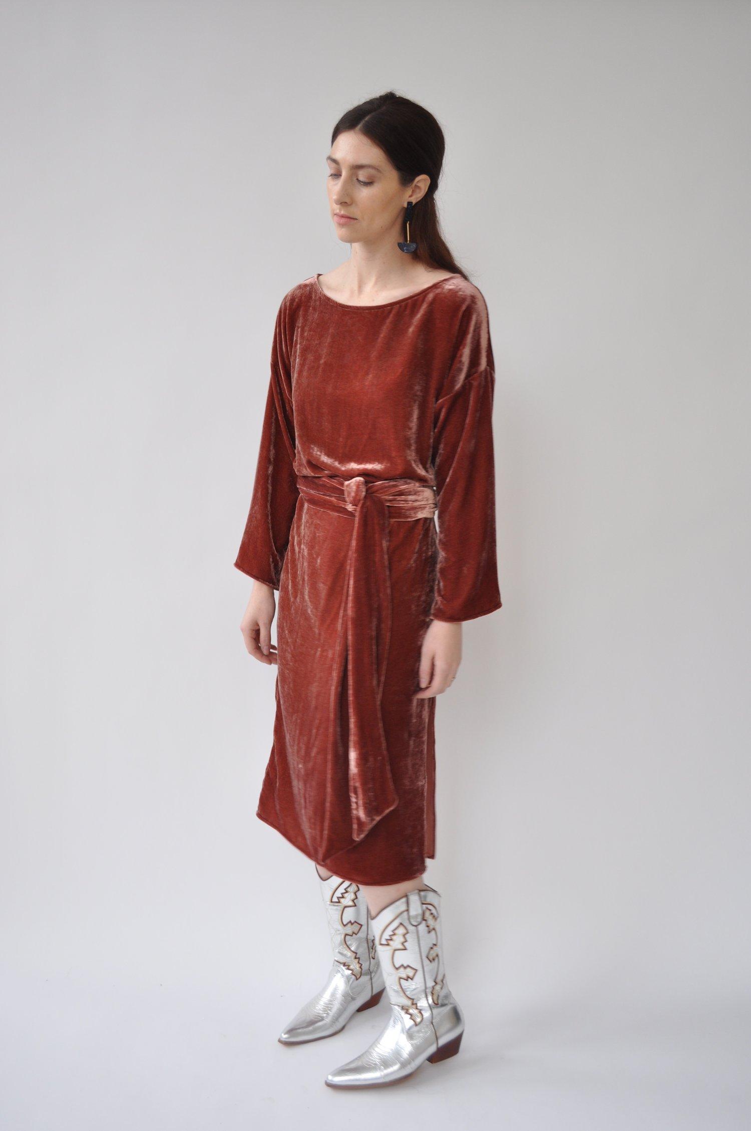 c5fa9b66f94 Cocobolo Silk Velvet Tunic Dress - Oxblood — Cocobolo Shop