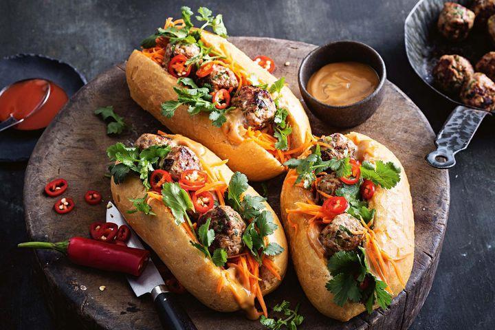 Chicken Meatballs with Pickled Vegetables over fresh baguette