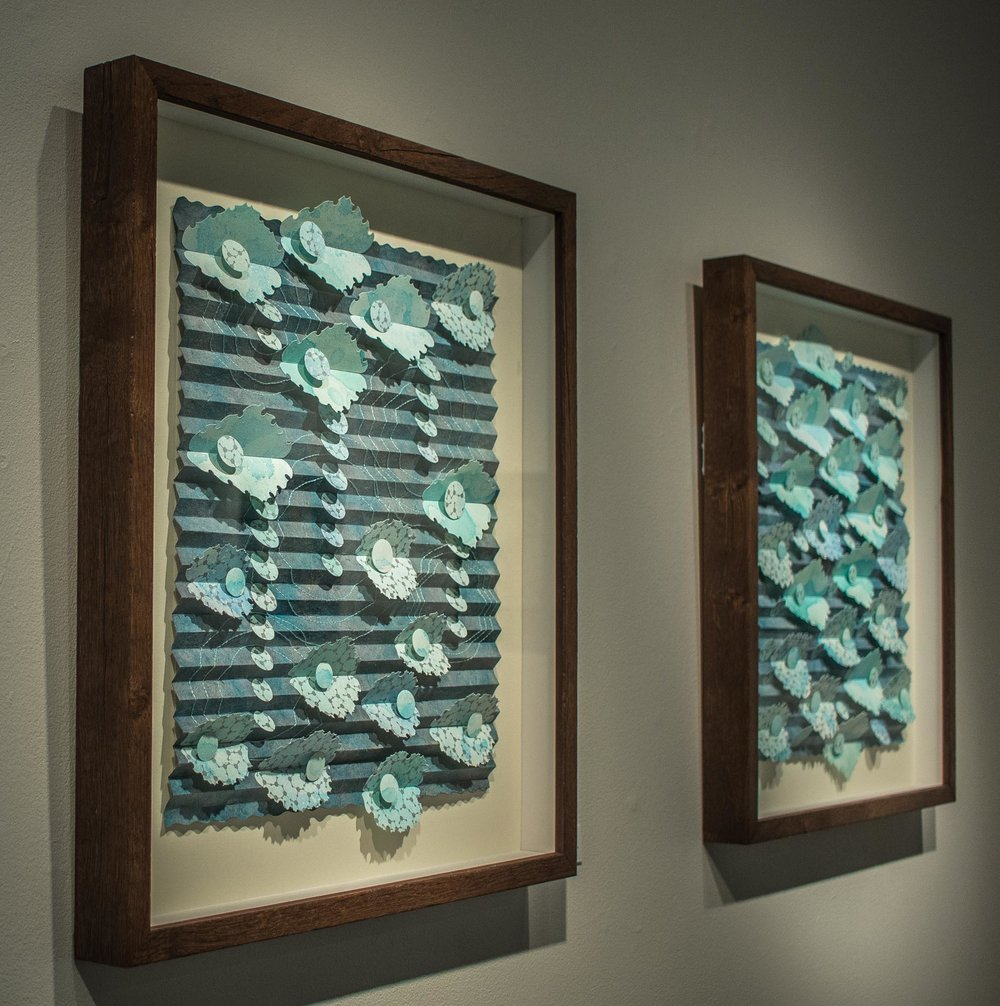 Paper sculptures  Lily Pond II  and  Ripples II  from the  CloudWater  series .  Photo credit: Kamala Dolphin-Kingsley.