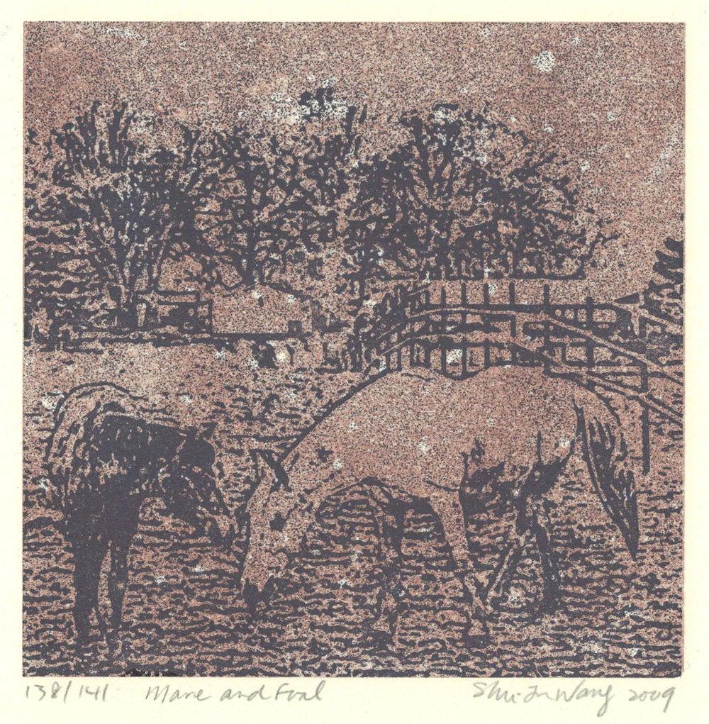 Mare & Foal (sepia)