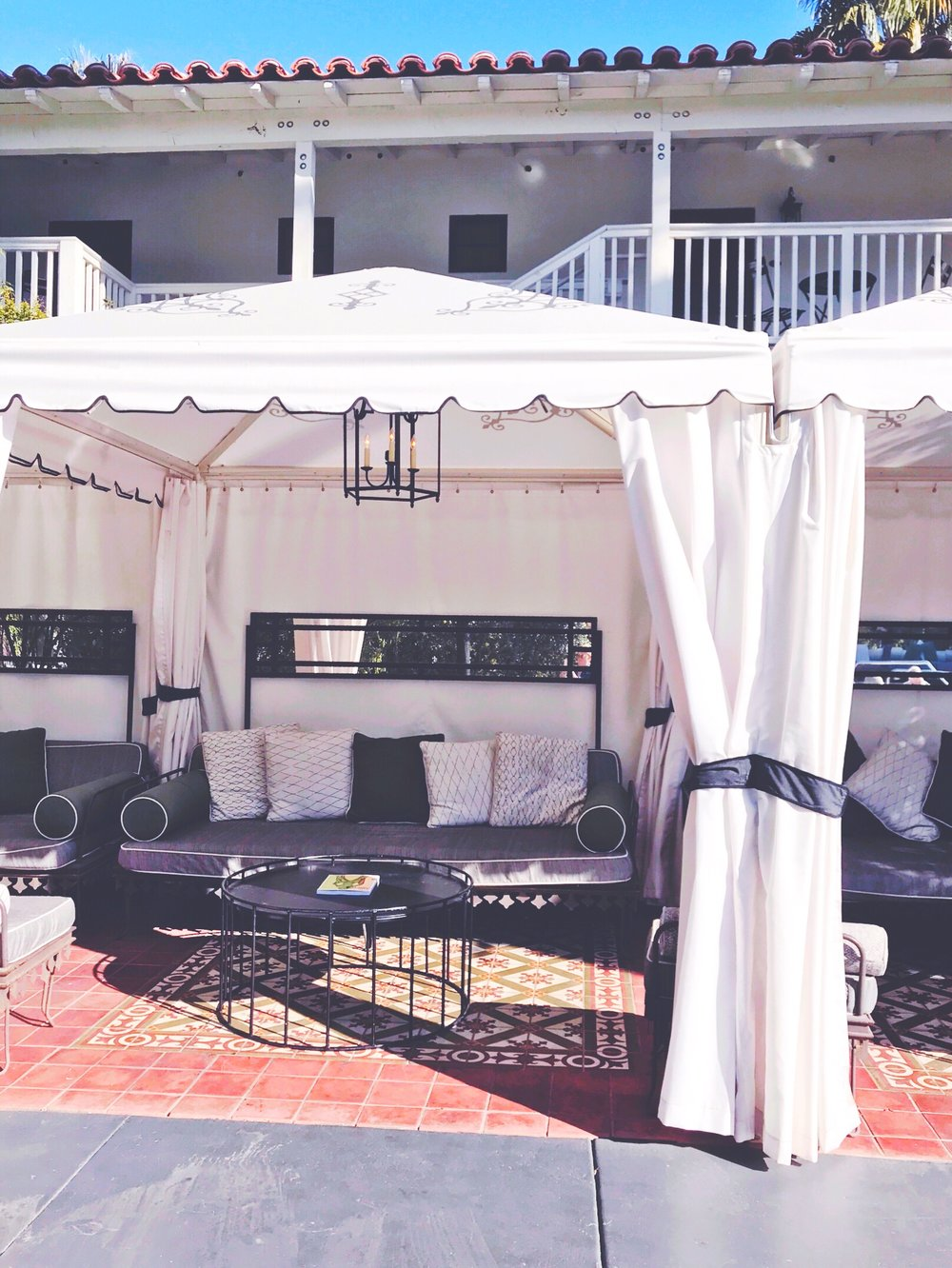Pool cabanas at the Colony Palms